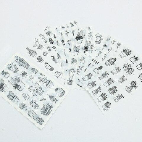 conjuntos 20 plantndiary planejador kawaii papelaria adesivos em preto e branco adesivos decorativos mobile scrapbooking