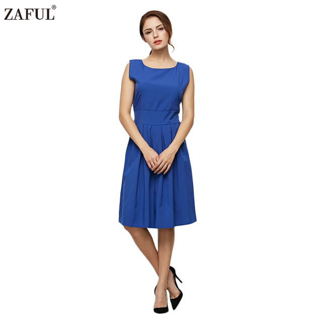 eb50a4d8a0a ZAFUL Women Summer 4 Solid Colors 60s Vintage Dress Office Work Business  Dresses Big Size L~2XL Retro A Line Feminino Vestidos