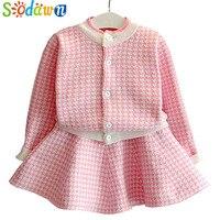 Sodwan 2017 New Spring Autumn Fashion Baby Girl Clothes Long Sleeve Grid Knitting Cardigan Skirt 2Pcs