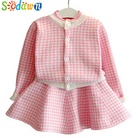 Sodwan 2017 New Spring Autumn Fashion Baby Girl Clothes Long Sleeve Grid Knitting Cardigan Skirt 2Pcs