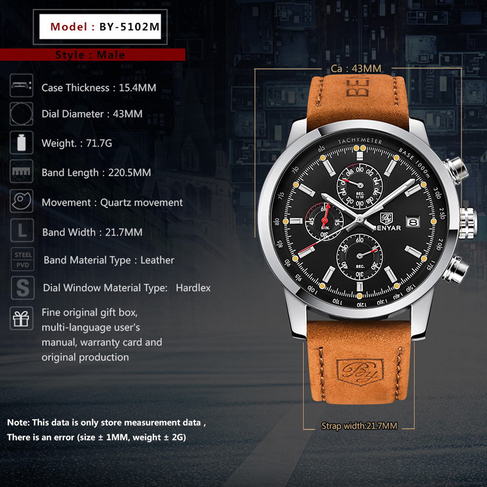 BENYAR Fashion Chronograph Sport Mens Watches Top Brand Luxury Quartz Watch Reloj Hombre saat Clock Male hour relogio Masculino 2