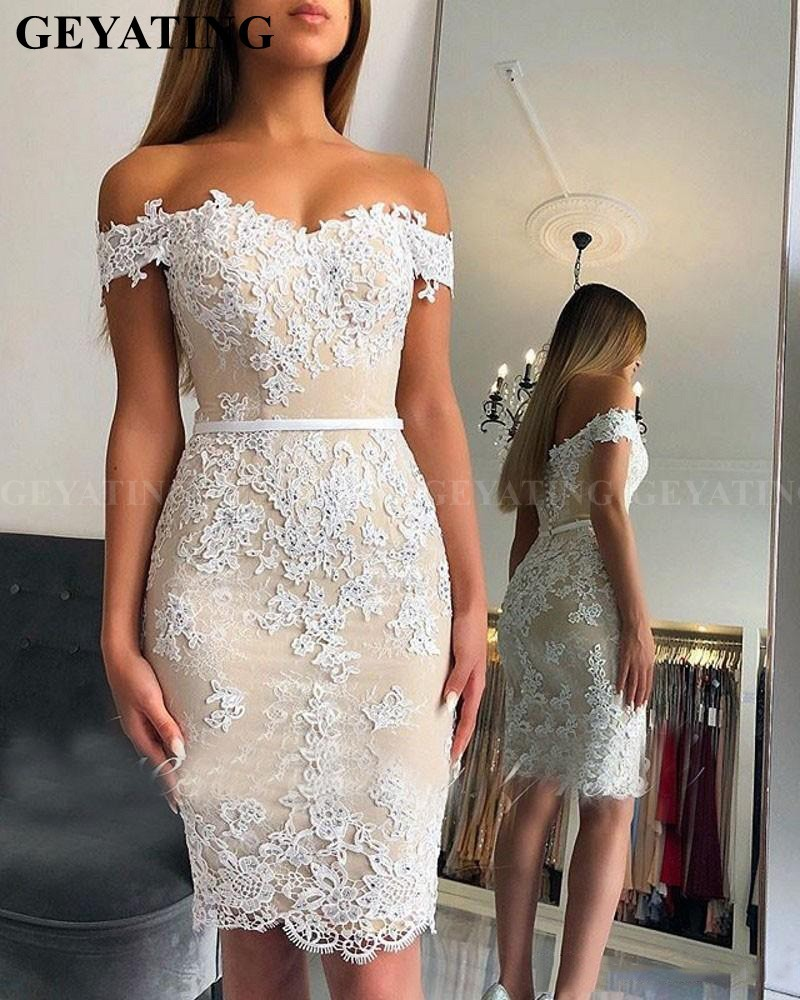 Elegant Off the Shoulder Short   Cocktail     Dresses   2019 Knee Length White Lace Appliques Semi Formal   Dress   Plus Size Party   Dresses