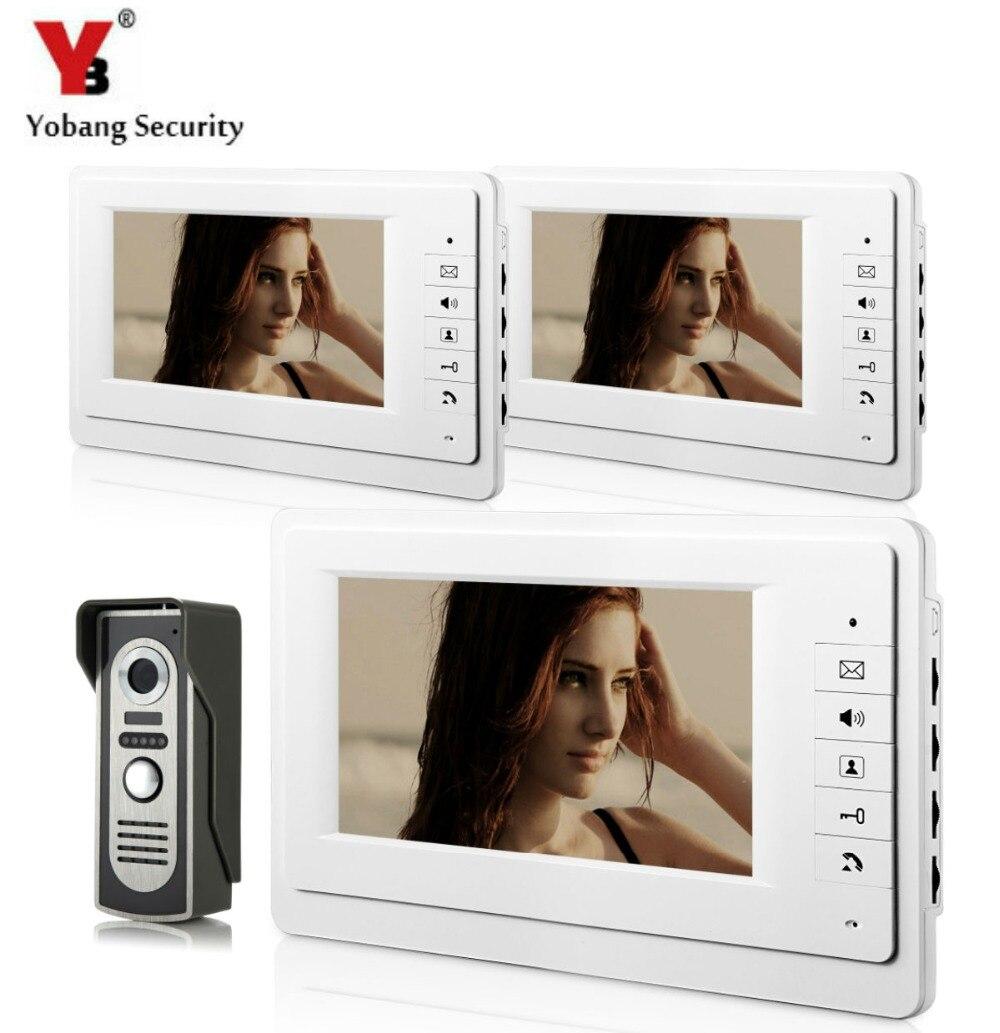 Yobangsecurity 7 дюймов проводной видео домофонов Системы охранных Камера дверь видео домофоны 1 Камера 3 монитор ночное видение