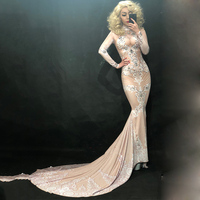 Glisten Rhinestones White Printed Long Tail Dress Birthday Evening Party Outfit Nightclub Female Singer Show Sexy Dresses DN2257