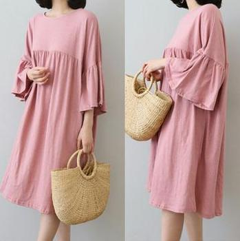 Large Size Maternity Clothing Dresses 2020 Summer Fashion Korean Loose Pregnancy Dress Nursing Clothes for Pregnant Women