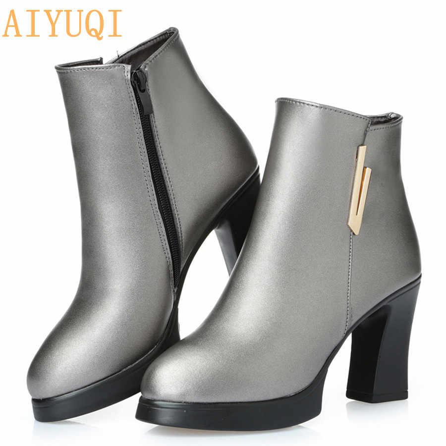 2019 yeni kadın yarım çizmeler bayanlar hakiki deri kar botları yüksek topuklu moda 34 # kırmızı çizmeler gerçekten kış Ding ayakkabı