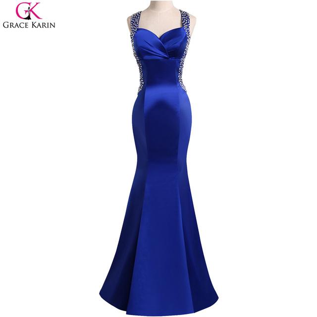 Graça Karin Vestidos de Baile Azul Royal 2017 Robe Sirene Satin Frisada Backless Bandage Bodycon Mulheres Vestidos Formais Sexy Vestido Sereia