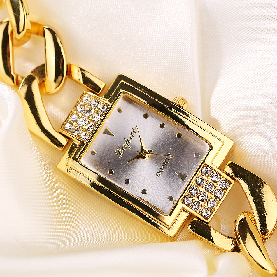 Luxury Women's Watch 2018 Shine Rectangle Dial Rose Gold Stainless Steel Bracelet Watch Women Men Watch Hot Sale Relojes mujer stylish golden hollow rounded rectangle hasp bracelet for women