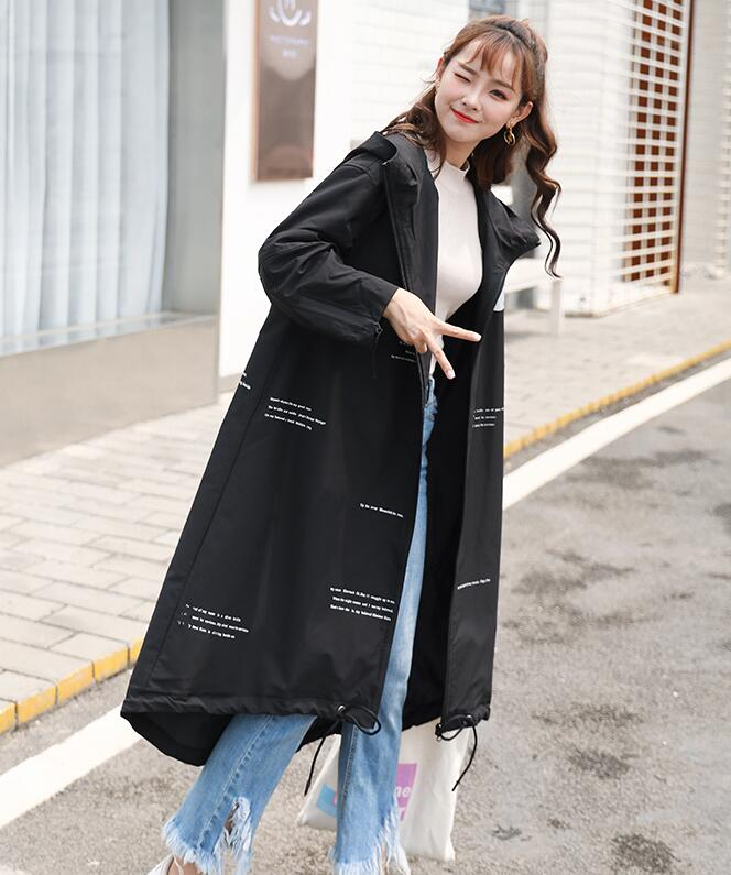 European and American Black Color Print oversized Long   Trench   coats hot sale Big size Female autumn coats am009