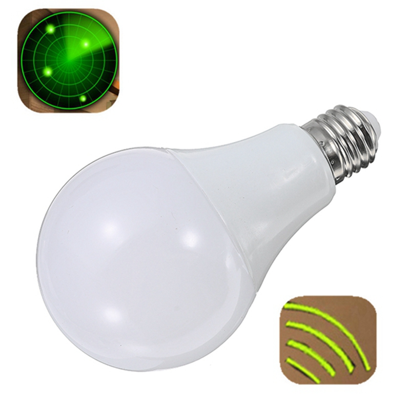 E27 9W 24 LED Lamp Bulb LED Light Bulb 220V Radar Sensor Light Bulb Home Detection Lamp Energy Saving Pure White 6000-6500k