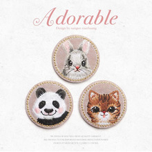 Three lovely animals Panda cat Rabbit Children embroidery badge Clothes patch Decorative cloth sticker Hole modification