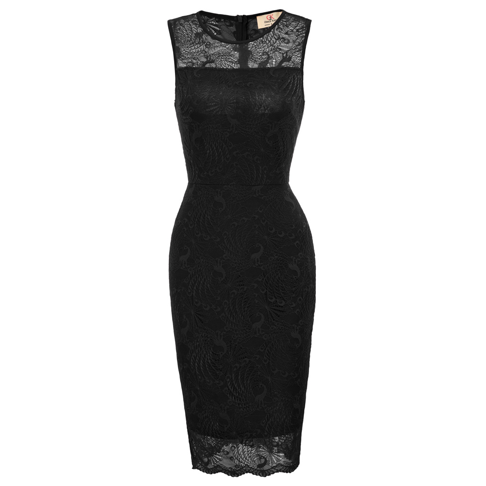summer dress for women fashion casual round neck sleeveless bodyconn dress sexy lace office dress