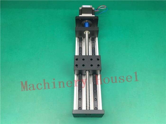 High Precision GX80*50mm Ballscrew 1204 1000mm Effective Travel+Nema 23 Stepper Motor Stage Linear Motion single block su gx 5s r