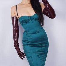 70cm Extra Long Gloves Section Emulation Leather Sheepskin PU Patent Bright Dark Red Wine WPU31-70