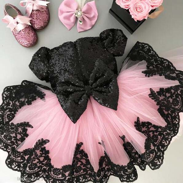 2018 summer short bling black sequins baby girl tutu dresses for 1st birthday party with bow and short sleeves pink tulle gown black white stripes flamingos short sleeves top solid pink ruffle short summer outfit girls boutique clothing with accessories