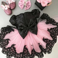 2019 summer short bling black sequins baby girl tutu dresses for 1st birthday party with bow and short sleeves pink tulle gown