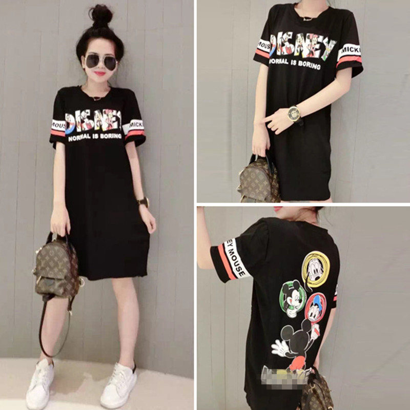 Minnie Mouse Dress Cosplay Costumes Summer new loose letter Minnie Mouse printing T-shirt Skirts Cartoon Korean Long Dresses