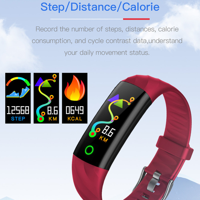 Sports Smart Watch Men Women Fashion Fitness Heart Rate Monitor Blood Pressure Pedometer Smart Watchband with Lamp for Running
