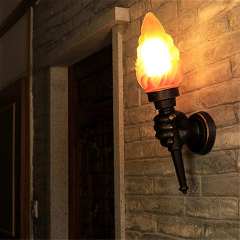 Torche créative main applique murale Art rétro applique murale B & B torche lumière Bar Restaurant café torche lumière