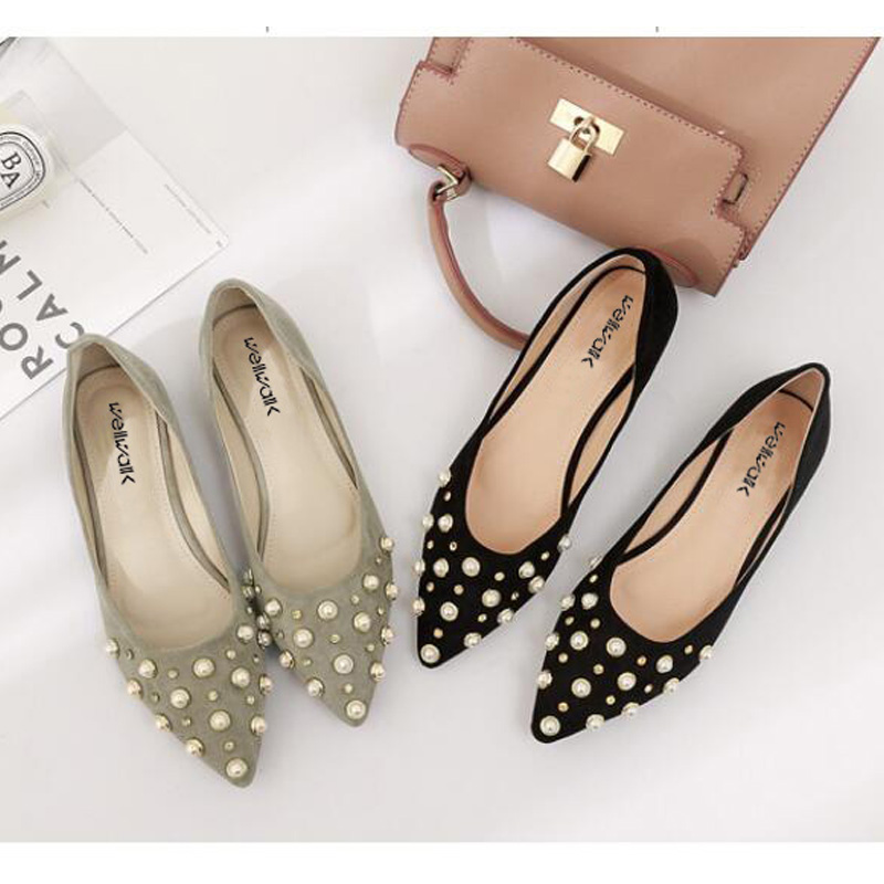 Ladies Shoes 2018 Pointed Toe Flock Ballerinas Fashion Women Ballet Flats Spring&Autumn Casual Women Flats Shoes Beaded Shoes beyarne women s d orsay flats spring autumn pointed toe shallow mouth woman basic flats shoes ladies casual single shoes pink