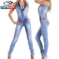Denim Jumpsuit Women 2016 Overalls Jeans Spring Sexy Women Jumpsuit Romper Sleeveless Sexy Bodycon Jeans Pencil Long Coveralls