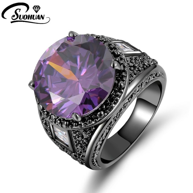 New Fashion Jewelry Size 7 8 9 10 Amethyst ring 10KT Black Rhodium