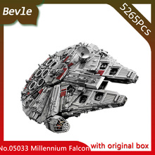 Bevle Store LEPIN 05033 5265Pcs with original box star space Ultimate Millennium Falcon Building Blocks For Children Toys 10179