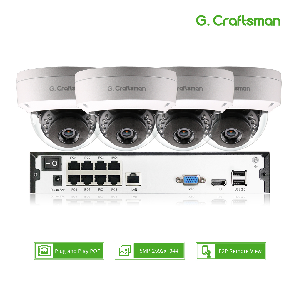Smart 4ch 5MP POE IP Camera System Kit Dome H 265 Security 8ch POE NVR Indoor