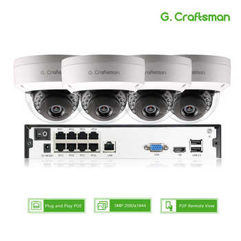 Smart 4ch 5MP POE IP Camera System Kit Dome H.265 Security 8ch POE NVR Indoor Violence-proof CCTV Alarm Video P2P G.Craftsman - DISCOUNT ITEM  17% OFF All Category