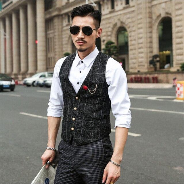 S-4Xl Homens Outono Primavera Terno dos homens Vest Slim Fit Moda Barbeiro Xadrez Colete Masculino Colete Único Breasted Cinza A2843