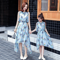 WLG family matching clothes mother and daughter floral dresses kids cute white blue mommy and me dress