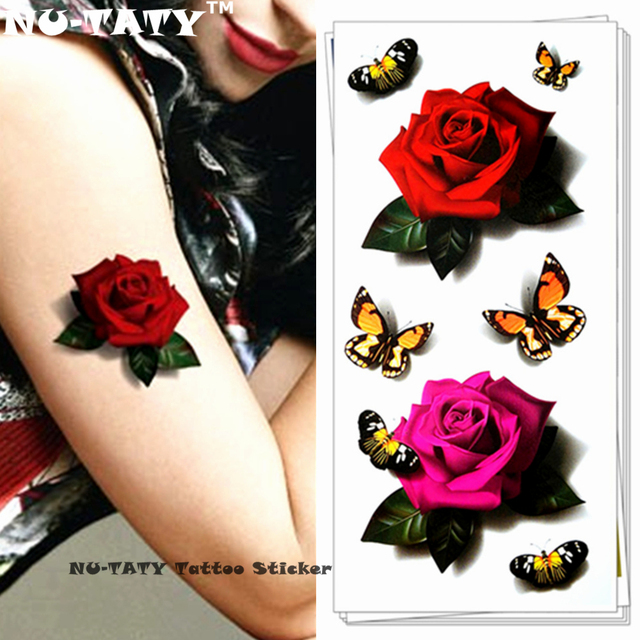 Nu-TATY Sexy Red Pink Rose 3d Temporary Tattoo Body Art Flash Tattoo Sticker 19x9cm Waterproof Tatoo Home Decor Wall Sticker