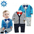Fantasia Infantil Baby Body 100% Cotton 2Colors Stripes Trimmed Baby Boy Clothes Gentleman Jumpsuit Carter Romper 1pcs HB007