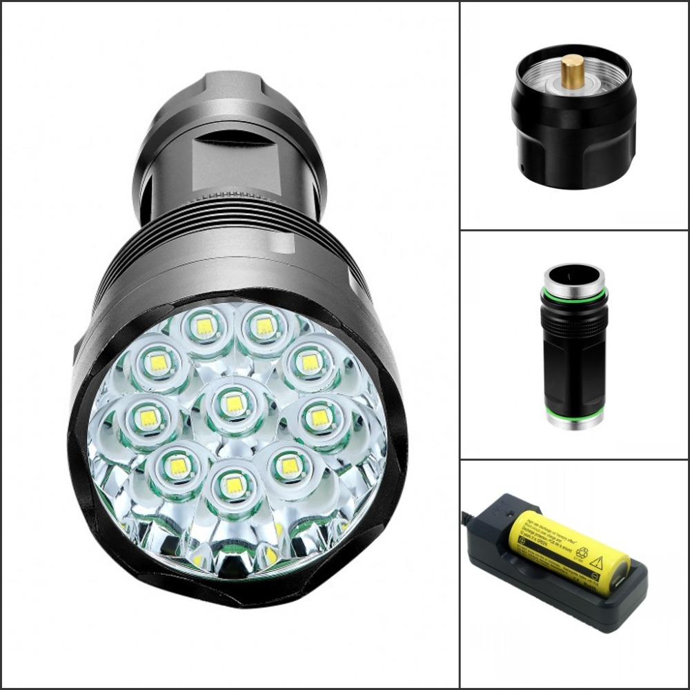 Tinhofire T10 10xCree XM L T6 20000 Lumens 5 Mode LED Flashlight Torch Light Camp Lamp