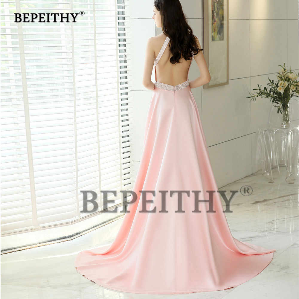 81037364341 ... BEPEITHY Halter Long Evening Dresses With Crystal Belt Vestido De Festa  Backless Court Train Pink Prom ...