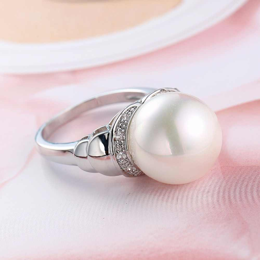 การออกแบบที่ไม่ซ้ำกัน 925 เงินแท้สีขาวไข่มุกแหวน AAA Cubic Zircon 2018 เครื่องประดับอินเทรนด์ Vintage anillos งานแต่งงานแหวนของขวัญ