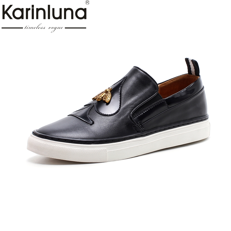 KARINLUNA 2018 new arrivals genuine leather soft flats women shoes comfortable easy walking lady girls mother shoes woman vintage embroidery women flats chinese floral canvas embroidered shoes national old beijing cloth single dance soft flats