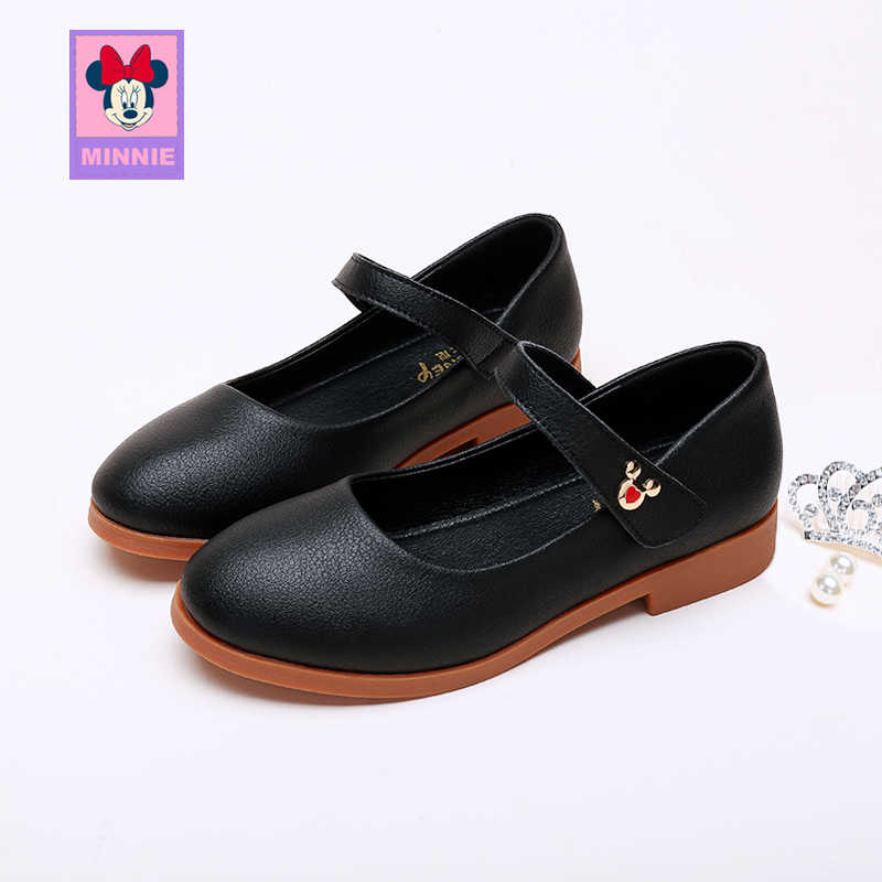 Disney children's leather shoes girls spring autumn leather casual shoes comfortable breathable student shoes for kid size 26-37