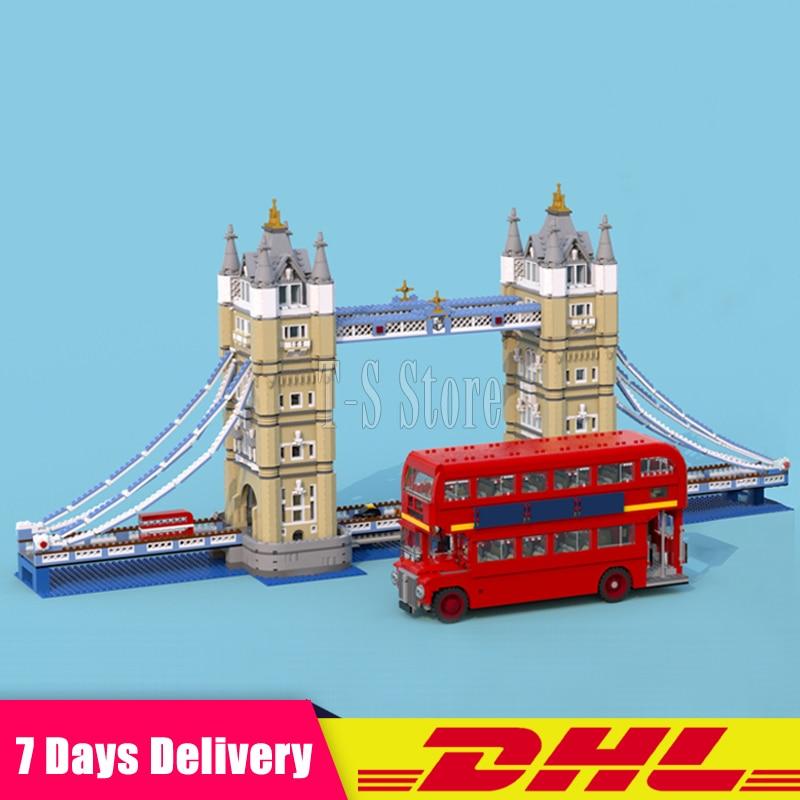 2018 LEPIN DHL 17004 London Tower Bridge+21045 London Bus Set Building Blocks Bricks Model Toys For Children Gifts 10258 10214 dhl new lepin 06039 1351pcs ninja samurai x desert cave chaos nya lloyd pythor building bricks blocks toys compatible 70596