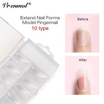 Vrenmol 100pcs Poly Gel French False Nail Tips Artificial Fake Nails Art Acrylic Manicure Tools for UV Gel Nail Polish artificial nails