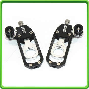 Motorcycle Chain Tensioner Adjuster with paddock bobbins kit for Yamaha R1 YZF-R1 2004 2005 Black&Silver