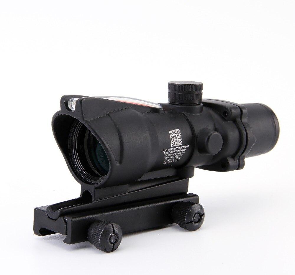 Trijicon ACOG 4X32 Fiber Source Red Illuminated Scope Black Color Tactical Hunting Riflescope