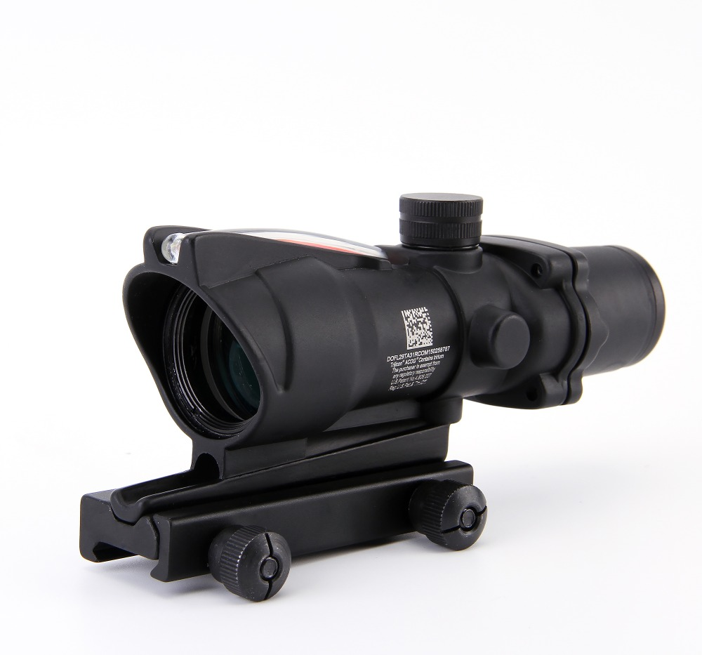 Fibra ACOG 4X32 Fonte Red Iluminado Scope preto cor Tactical Caça Riflescope