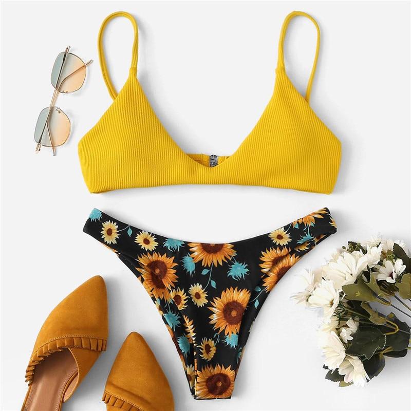 Floral Print High Cut Bikini 13
