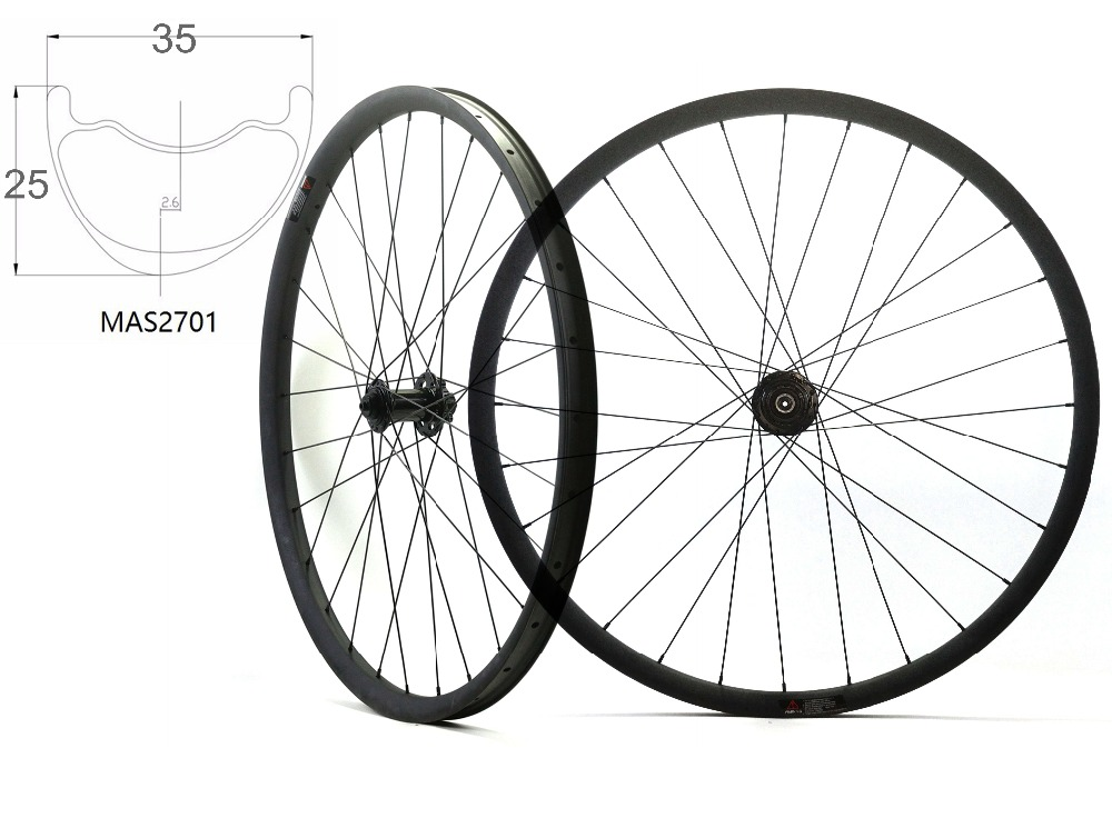 Asymmetric 29ER MTB AM carbon wheels 29inch 35mm width 25mm depth mountain bike hookless carbon wheelset with Bitex hub цены онлайн
