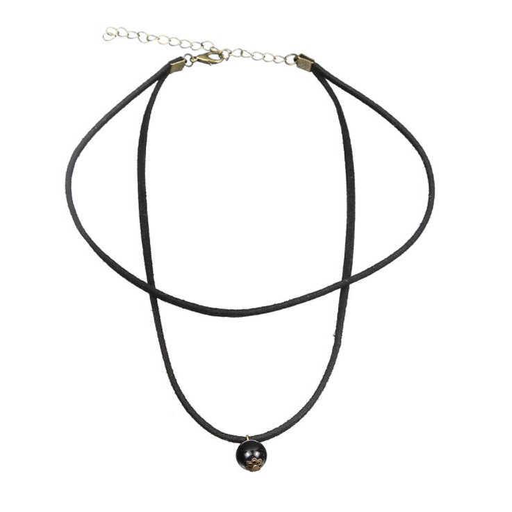 สร้อยคอสร้อยคอสำหรับหญิงสาวแฟชั่นเครื่องประดับกำมะหยี่ฤดูร้อนของขวัญ Simple Black Sequins Pearl จี้ดาว