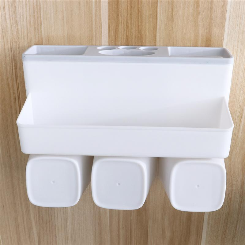 Image 4 - Bathroom Toothbrush Holder Wall Mounted Washing Traceless Punch Free Storage Basket Cup Storage Shelf For Home Bathroom-in Toothbrush & Toothpaste Holders from Home & Garden