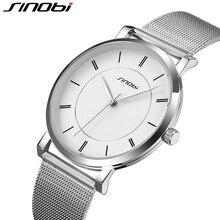 SINOBI Marca de Fábrica Superior de Acero Inoxidable de Malla Correa de Hombres Reloj Ultra Delgado Reloj Dial Hombre Relojes Relogio masculino Relojes Hombre 2016