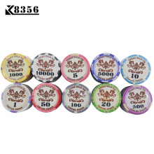 K8356 10PCS/Lot 9.5g 3.9CM Ceramic Texas Holdem Chips Coins Baccarat Poker Board Games Crown Tupper