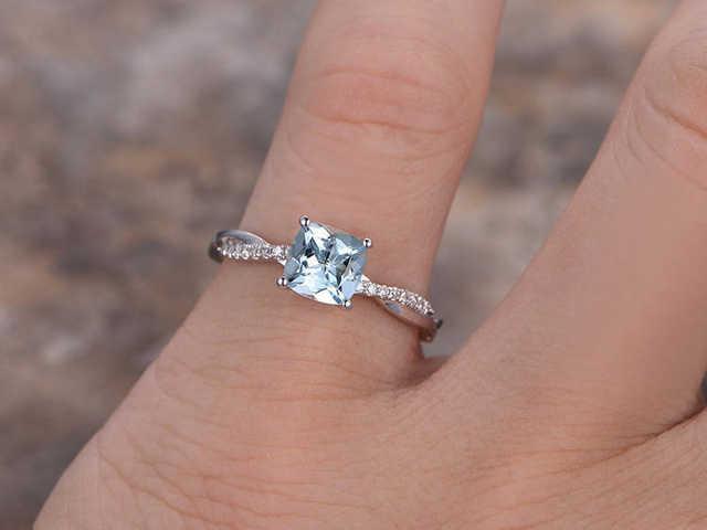 Online Shop 6mm Cushion Cut Aquamarine Engagement Ring 925 Sterling
